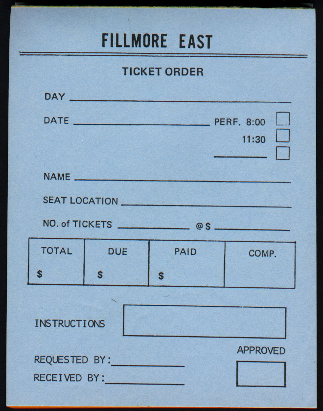 Fillmore East Ticket Order Form